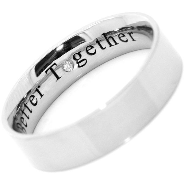 "Some sentiments engraved into wedding rings say it perfectly. This flat court profile wedding band is laser engraved with the words ""Better Together"" including a single inset diamond in place of the letter ""o"""