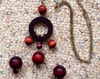 Vintage Mid-Century Modernist Pendant Necklace Kaija Aarikka Made in Finland Scandinavian Nordic Jewelry Wooden Geometric Beads 50's
