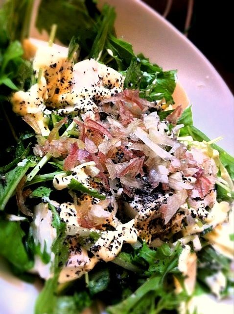 ゴマとマヨネーズが、ポイント~(^^) - 24件のもぐもぐ - 水菜と豆腐とミョウガのサラダ by murton