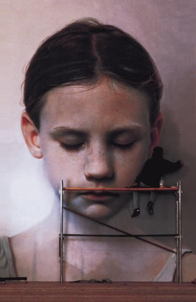 Gottfried Helnwein: Kindskopf (Head of a Child) 1991     600 cm x 400 cm     oil and acrylic on canvas