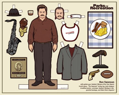 Ron Swanson paper doll.  AWESOME.