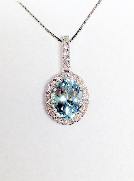 bbf6dd8954c Aquamarine Gemstone Oval Halo White Gold Diamond Necklace Pendant ...
