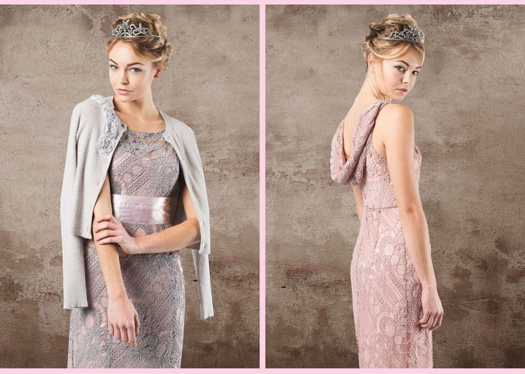 Soft grey and dusty pink lace occasion dresses. This little lace fitted dress is perfect for mother of the bride and groom or bridesmaids. Wedding guest dresses with cowl necks.