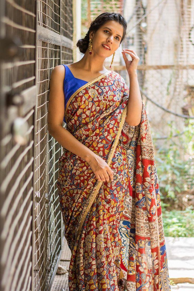Block printed Kalamkari soft cotton silk saree with gold sequin border  #saree #blouse #houseofblouse #indian #bollywood #style #red #blue #mustard #mutlicolour #printed #kalamkari #soft #cottonsilk
