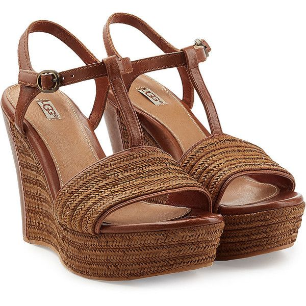 UGG Australia Braided Leather Fitchie Platform Wedges ($87) ❤ liked on Polyvore featuring shoes, schuhe, brown, woven leather shoes, platform wedge shoes, real leather shoes, brown leather shoes and ugg footwear