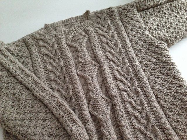 Just finished this Aran wool sweater, February 14, 2014!