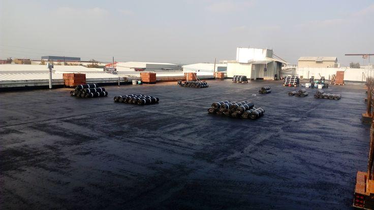 Εργοστάσιο στη Σίνδο - Υγρομόνωση δώματος με ελαστομερή ασφαλτόπανα SBS. (2015)