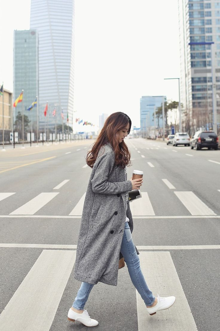 long grey coat, jeans & oxfords