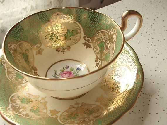 Aynsley bone china tea cup and saucer, green tea cup, English tea set, green and gold