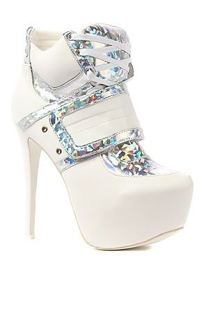 ☮✿★ HEELS ✝☯★☮ The Swag Shoe in White Hologram by Privileged
