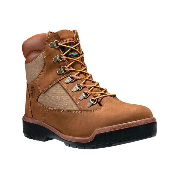 "Men's Timberland 6"" Leather/Fabric Field Waterproof Boot ($185) ❤ liked on Polyvore featuring men's fashion, men's shoes, men's boots, men's work boots, casual, work boots, timberland mens boots, mens leather lace up boots, mens leather work boots and timberland mens work boots"