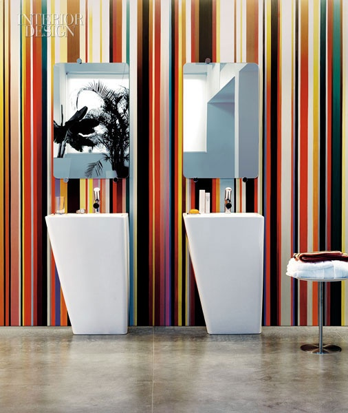 Bathroom. Love love love the stripes. by Alessi