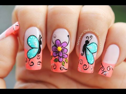 Decoracion de uñas mariposas y flores facil - Butterfly and flower nail art - YouTube