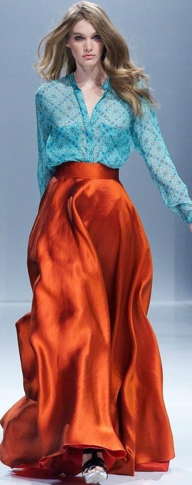 Autumnal silk in russet with turquoise shirt. Alexander Terekhov by LBV