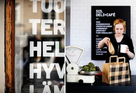 Finnish Muotohiomo designed the interior and the packaging for sis Deli and cafe