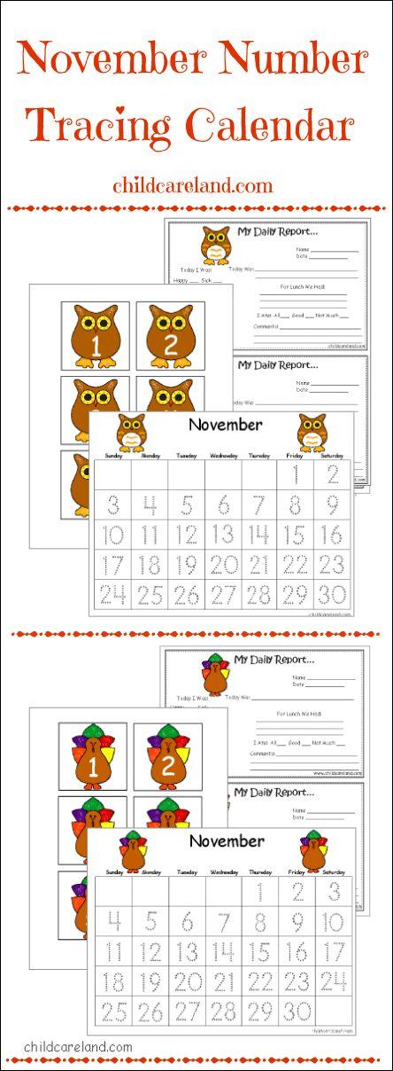 November Kindergarten Calendar : Childcareland november number tracing calendar and