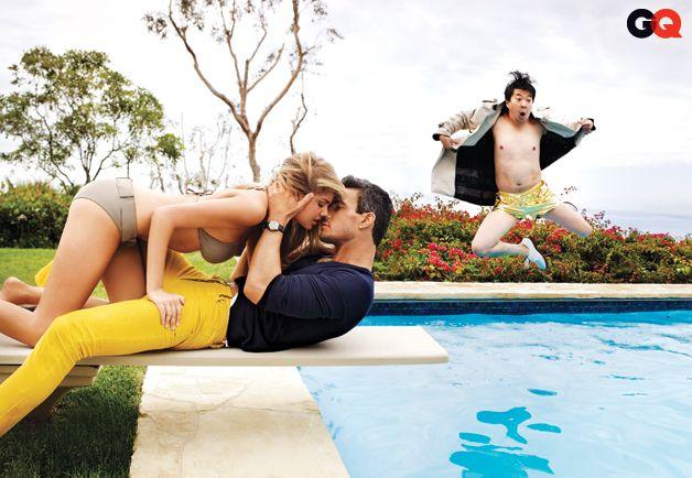 Ken Jeong Photobombs Kate Upton in GQ's Slim Corduroy Pants Fashion Shoot: Wear It Now: GQ