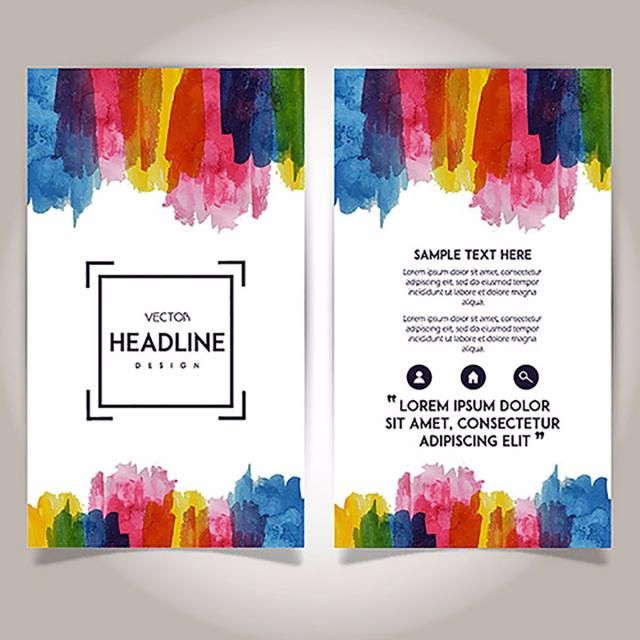 Hand Drawn Watercolor Brochure Template Design How To Draw Hands