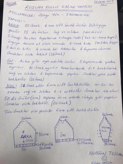 Nurgün Tezcan'ın şiş ile örgü çocuk kazak yapılışı modelini paylaştık. 2 yaşındaki çocuklar için olan bu kazak modelinin yapılış aşamaları sitemizdedir.