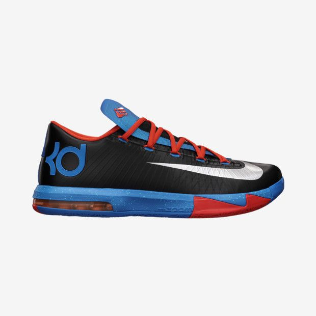 The KD VI Mens Basketball Shoe was built with a new responsive Nike Zoom unit a more supportive upper and a lowercut silhouette for better flex through