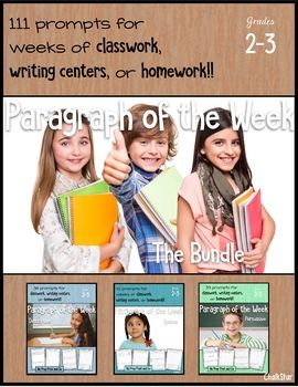 ~~The Mega Load of Paragraph of the Week Topics~~ This bundle includes all 36 descriptive, 33 persuasive, and 42 opinion prompts! These 111 prompts will certainly give you choices. You're students are bound to find topics they love. When they love the prompt it makes writing way more fun. ****Save $$$$$$ by purchasing this bundle.****