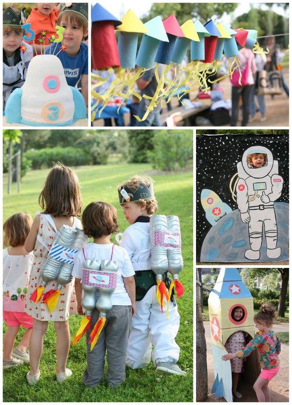 Fiesta infantil del espacio. Party ideas. Cohete, astronauta, propulsores, photocall #diy