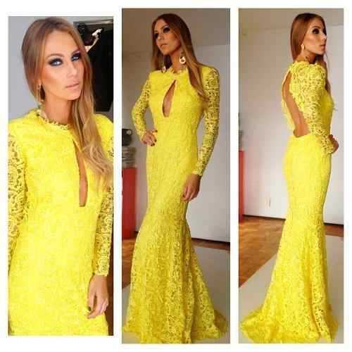 3.26 On Sale Celebrity Evening Gowns Lace Special Occasion Dresses Modest Long Sleeve Gowns Yellow Prom Dress With Sleeve