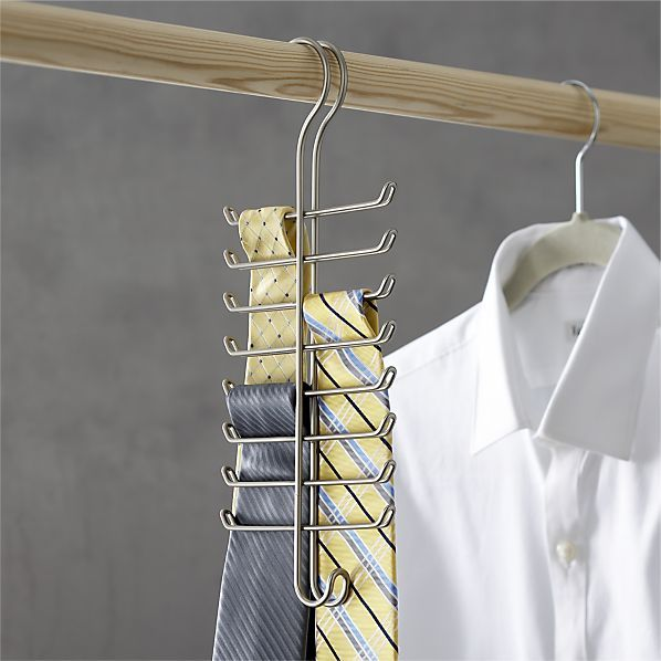 Tie Hanger in Closet | Crate and Barrel - This just makes him able to find the tie he wants with minimal intervention on my part.