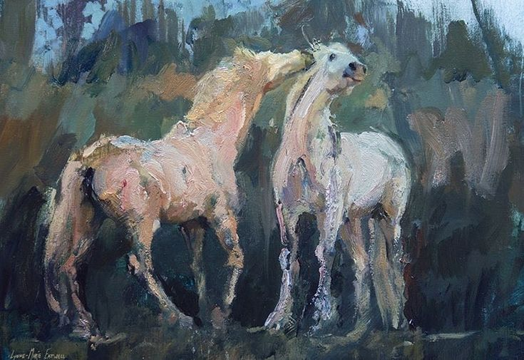 In Friendship watching the Camargue horses play at sunrise. #oilpainting #equestrian #camarguehorses #eatwellgallery #lynne-marieEatwell #pin
