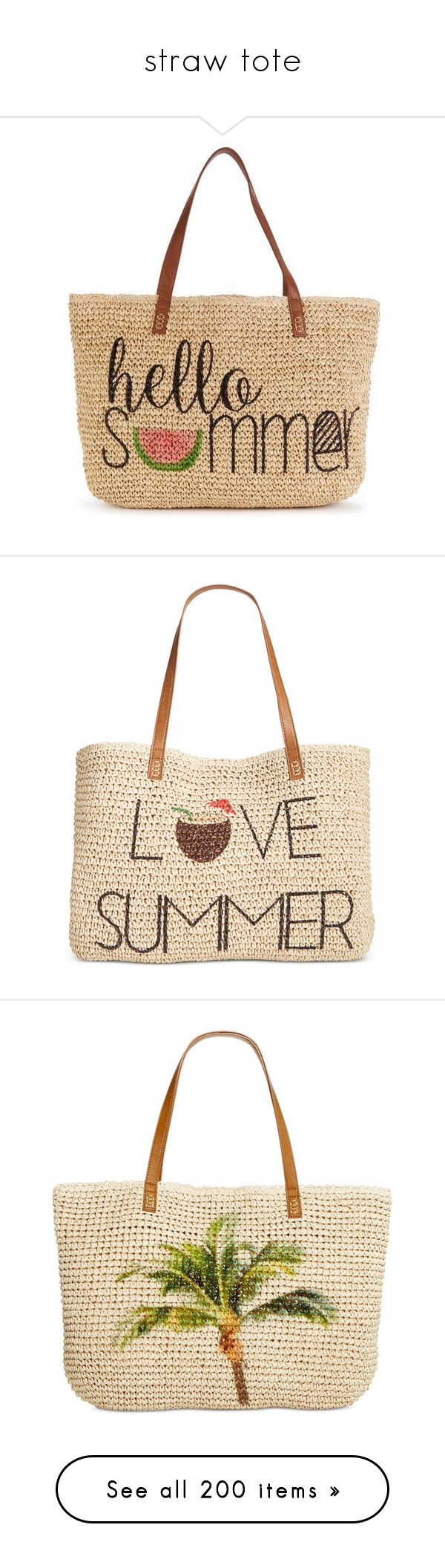 """""""straw tote"""" by countrycousin ❤ liked on Polyvore featuring bags, handbags, tote bags, tote handbags, beige purse, beige handbags, beige tote bag, tote bag purse, purses and beach"""