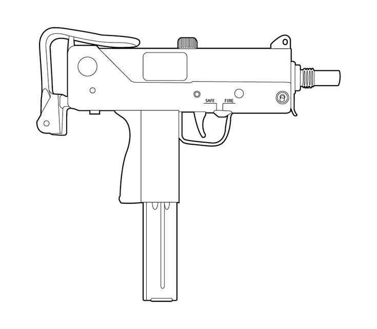 Ingram Mac 10 Drawings Sketch Coloring Page Uzi Mac Gun