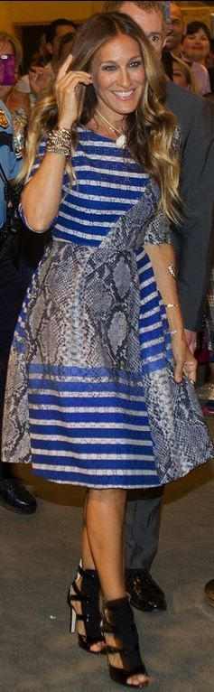 Texas - Sarah Jessica Parker in Texas blue stripe snake print dress and SJP by Sarah Jessica Parker SJP 'Gina' Sandal