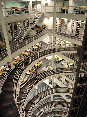 Each level is another circle of Hell- London School of Economics' library