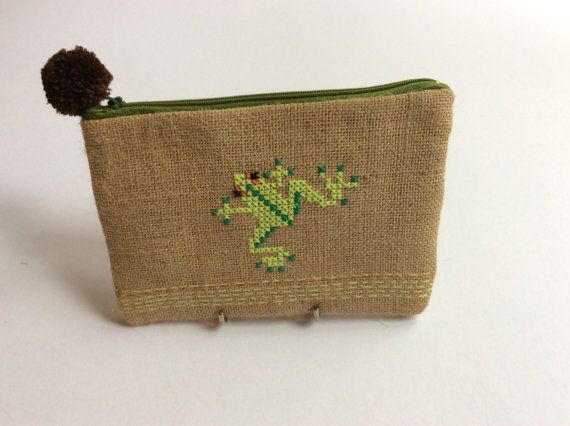 Green frog burlap pouch bag cross stitch embroidery