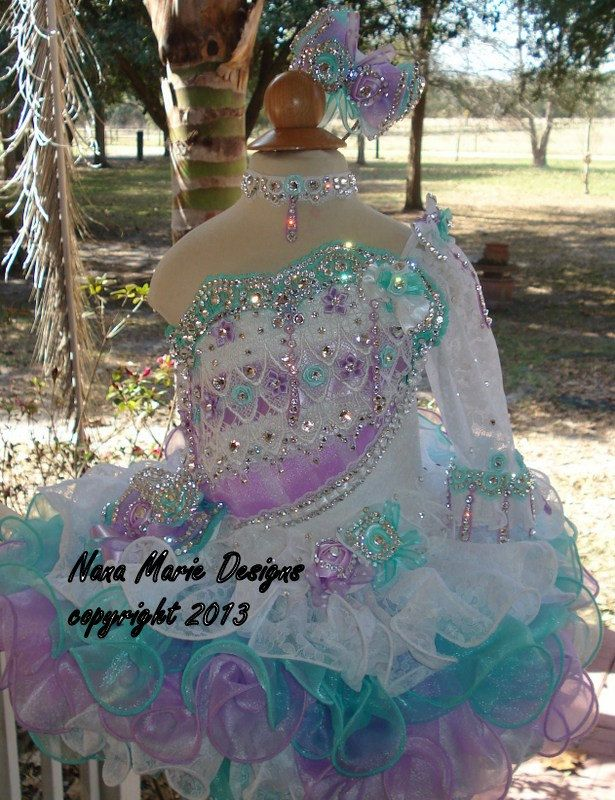 Love the color combination ...... National Glitz Pageant Dress Custom Order by Nana Marie Designs.