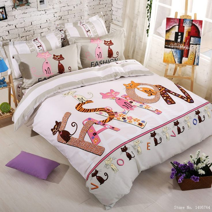 pas cher marque de luxe reine taille chat impression ensemble de literie enfants enfants. Black Bedroom Furniture Sets. Home Design Ideas