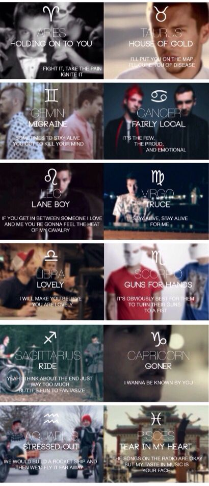 Twenty One Pilots astrology post   Photo credit to sightsfromgreatheights on Tumblr