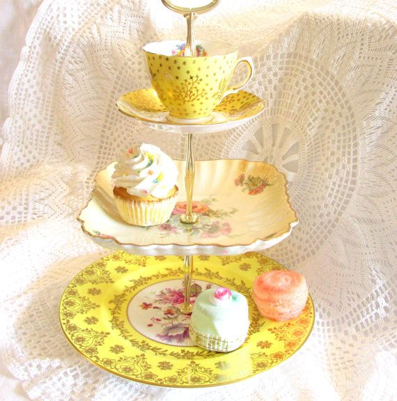 Bright Yellow 3-Tiered Tea Party Stand with teacup and saucer, 3 tiers of English china vintage plates and dishes for cupcake stand tray display, Mad Hatter centerpiece, wedding candy bar buffet table, or Alice in Wonderland party by High Tea For Alice on Etsy