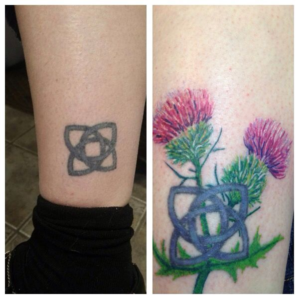 before and after tattoo picture i wanted to add more flair to my simple celtic knot i love the. Black Bedroom Furniture Sets. Home Design Ideas