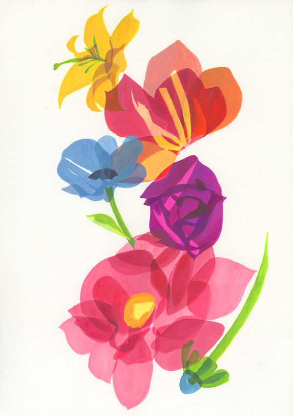 "Title: "" 53rd The proceedingsof the seminar about the school health "" In this seminar 6 specialists talked about each theme, so I drew 6 flowers. The editor of the book told me that he thinks the 6 flowers express the life of people, so the flowers have their lights and shadows. In response to his idea I drew the flowers having dark and bright color."