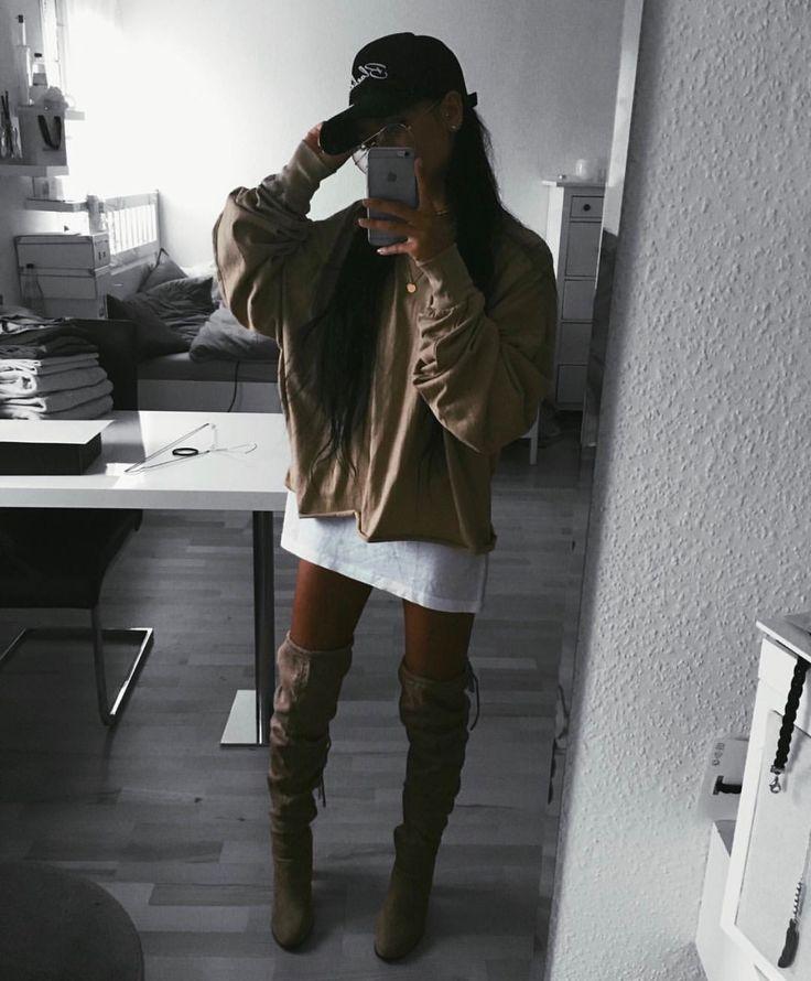 Thigh High Boots. Tshirt Dress. Tan Outfit. Long Hair. | S ...