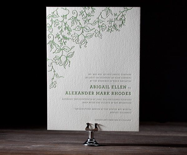 Romantic letterpress leaves and delicate tendrils lend a tender purity to this design.