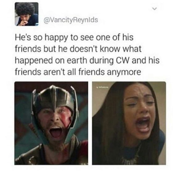 If anyone can bring the gang back together its thor literally all he has to do is tell them to shut up and stop whining and CW will disappear out of existence