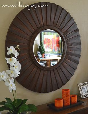 Sunburst mirror tutorial. I like that she started with a framed mirror - gives a great finished look.