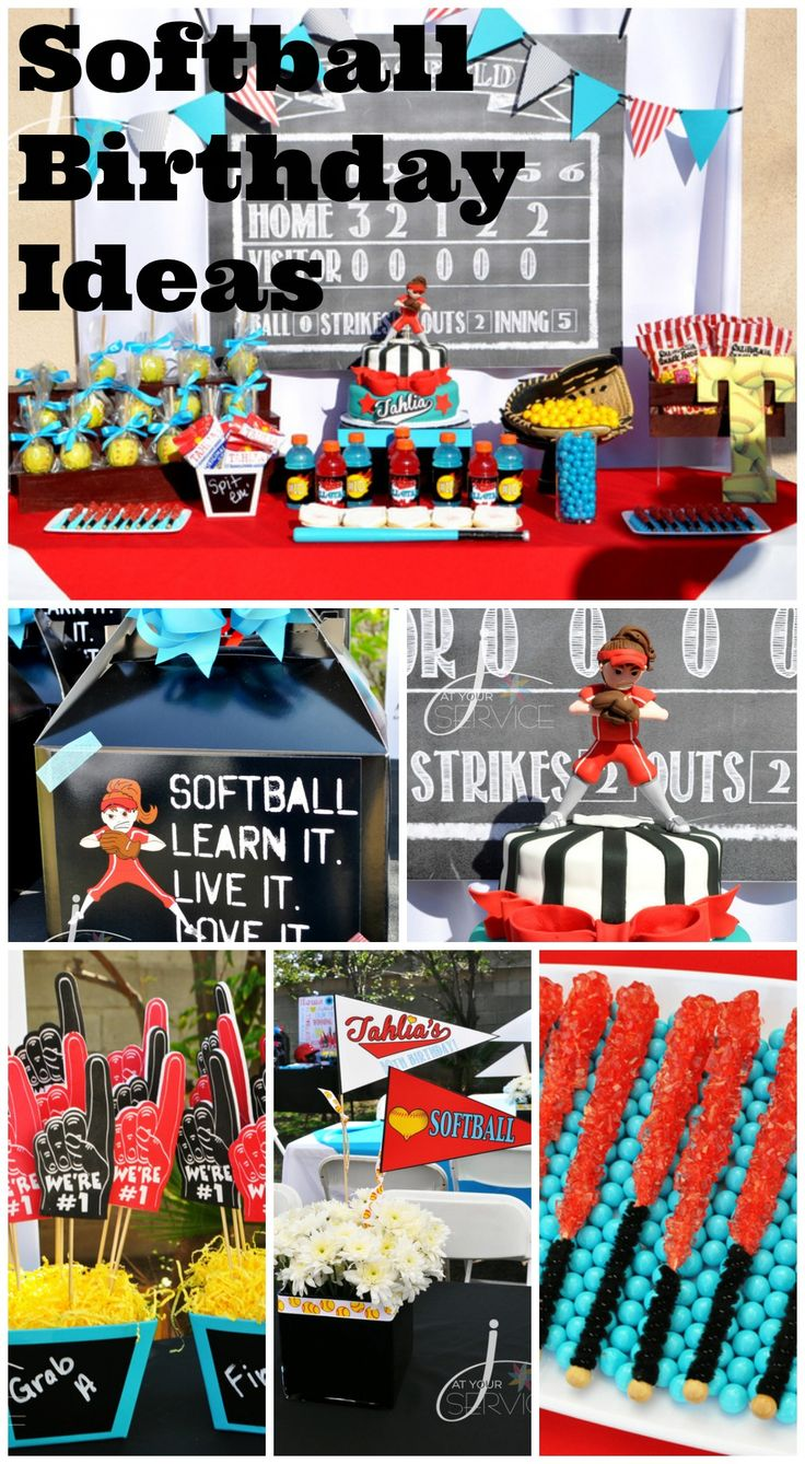 Great softball girl birthday party ideas, including the softball birthday cake! See more party ideas at CatchMyParty.com. #softball #partyideas