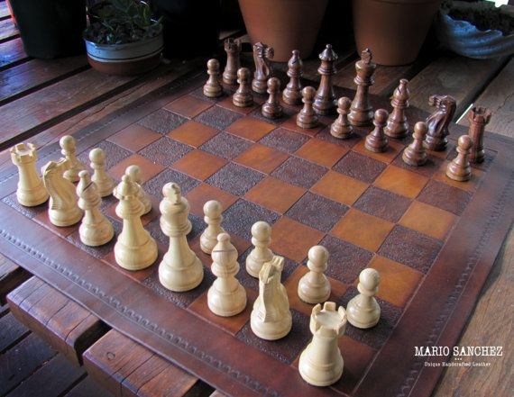 Easy Carry Portable Leather Chess Set