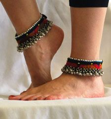 PAIR of Afghani Tribal Cloth Anklets with Bells by Handmade Tribal Jewelry on Bellydance.com