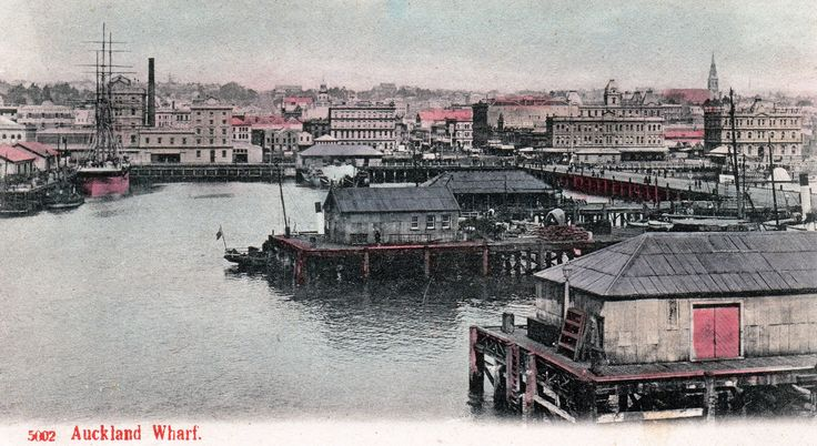 Auckland Wharf in about 1900. Postcard from the P. T. Series ~ No. 5002.
