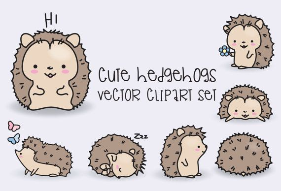 Premium Vector Clipart – Kawaii Hedgehogs – Cute Hedgehogs Clipart Set – High Quality Vectors – Instant Download – Kawaii Clipart