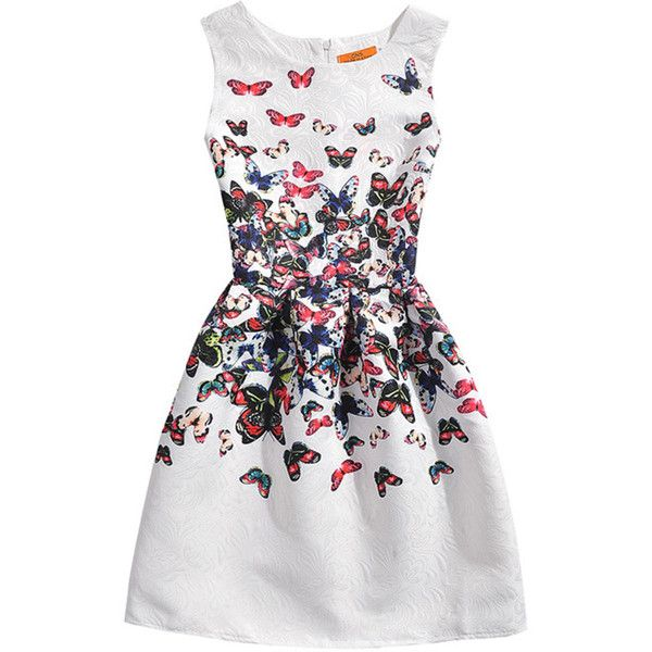 Butterfly Printed Inverted Pleat Embossed Skater Dress featuring polyvore, women's fashion, clothing, dresses, flared skater dress, white skater dress, white flare dress, white dresses and flare skater dress